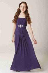 Strapped Sleeveless Ruched Chiffon Bridesmaid Dress With Waist Jewellery