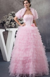 Ruffled Strapless Ball Gown Tulle Quinceanera Dress with Bolero