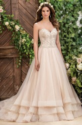 Sweetheart A-Line Tiered Wedding Dress With Beaded Bodice