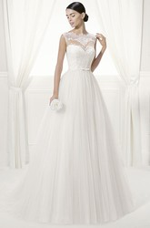 Lace High Neck Sleeveless Tulle Ball Gown With Belt And Lace Top