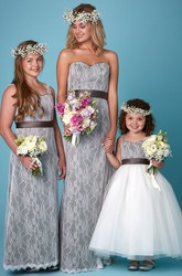 Sleeveless Sweetheart Ribboned Lace Bridesmaid Dress