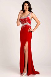One-Shoulder Side Slit Jersey Sheath Prom Dress With Glittering Top