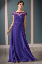 Cap-Sleeved A-Line Mother Of The Bride Dress With Illusion Neck And Beadings