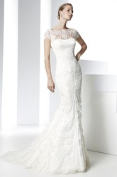 Mermaid Bateau Neck Cap Sleeve Appliqued Lace Wedding Dress With Court Train