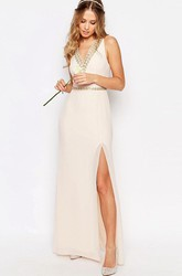 Sleeveless Split-Front V-Neck Chiffon Bridesmaid Dress