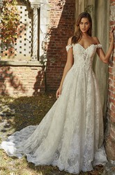 A-line Lace Appliqued Adorable Off-the-shoulder Sweetheart Wedding Dress With Open Back