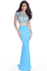 Mermaid Cap Sleeve Jersey Gown With Low-U Back And Bling Rhinestone Bodice