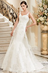 Mermaid Floor-Length Sleeveless Appliqued V-Neck Tulle&Lace Wedding Dress With Ruching