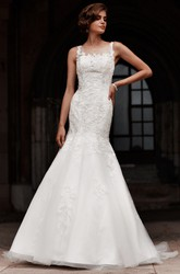 Trumpet Sleeveless Appliqued Floor-Length Scoop-Neck Lace&Satin Wedding Dress