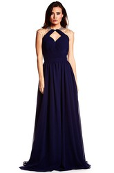 High Neck Sleeveless Beaded Chiffon Prom Dress With Keyhole