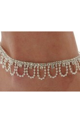Western Style Popular Diamond U-shaped Beads Tassel Bead Chain Rhinestone Chain Anklet