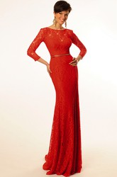 Sheath Floor-Length Scoop-Neck Long-Sleeve Jeweled Lace Prom Dress With Bow