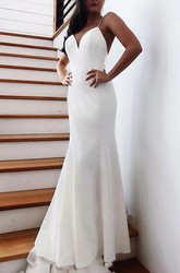 Elegant Satin Mermaid Spaghetti Chapel Train Long Wedding Dress