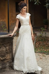 V-Neck Appliqued Maxi Cap-Sleeve Lace Wedding Dress With Sash