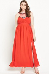 Ankle-Length Sleeveless Beaded Scoop Neck Chiffon Bridesmaid Dress
