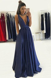 Sleeveless Floor-length A-Line V-neck Taffeta Dress