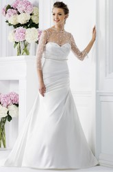 Sweetheart Wedding Wedding Dress With Detachable Illusion 3-4 Sleeved Overlay