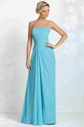 Strapless Floor-Length Draped Chiffon Bridesmaid Dress With Broach And Lace Up