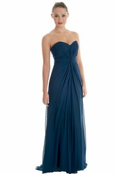 Sweetheart Floor-Length Ruched Chiffon Bridesmaid Dress With Brush Train