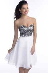 Short Sweetheart A-Line Chiffon Bridesmaid Dress Featuring Lace Bodice