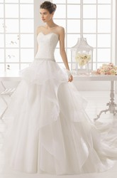 Ball Gown Maxi Jeweled Sweetheart Organza Wedding Dress With Lace And Draping