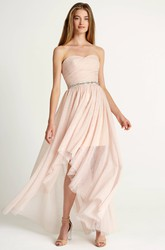 High-Low Criss-Cross Sleeveless Sweetheart Tulle Bridesmaid Dress