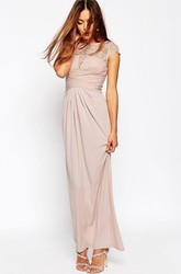 Sheath Cap-Sleeve Splited Scoop-Neck Ankle-Length Chiffon Bridesmaid Dress With Illusion