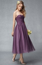 Tea-Length Criss-Cross Sweetheart Sleeveless Tulle Bridesmaid Dress