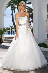 Strapless Maxi Floral Satin Wedding Dress With Draping