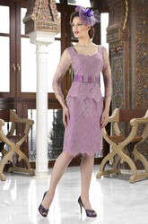 Pencil Knee-Length Scoop Neck Illusion Sleeve Lace Mother Of The Bride Dress