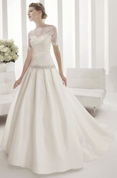 Sweetheart Drop Waist Taffeta Ball Gown With Removable Half Sleeves