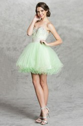 A-Line Short Sweetheart Sleeveless Backless Dress With Ruffles And Beading