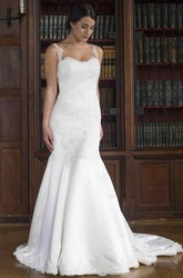 Trumpet Scoop-Neck Long Sleeveless Appliqued Lace&Satin Wedding Dress