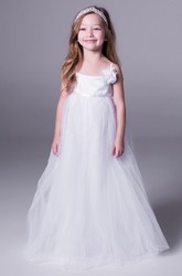 A-Line Sleeveless Spaghetti Floral Floor-Length Tulle Flower Girl Dress