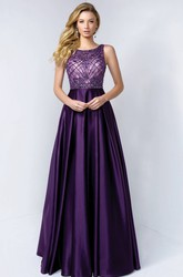A-Line Long Bateau Sleeveless Satin Low-V Back Dress With Beading And Lace