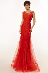 Trumpet Sleeveless Scoop Appliqued Floor-Length Lace&Tulle Prom Dress With Low-V Back And Ruffles