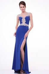 Sheath Bateau Cap-Sleeve Jersey Illusion Dress With Split Front And Beading