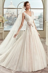 V-Neck Lace Bridal Gown With Floral Sash And Open Back
