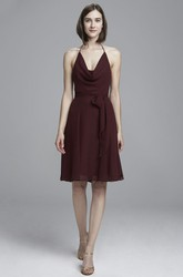 Sleeveless Cowl-Neck Knee-Length Chiffon Bridesmaid Dress With Bow And Backless Design