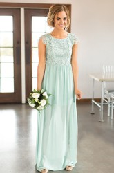 Chiffon Scoop-neck Cap-sleeve Bridesmaid Dress with Keyhole Back