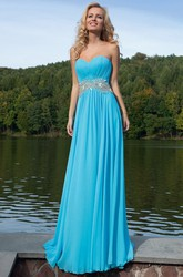Ruched Sweetheart Sleeveless Floor-Length Chiffon Prom Dress With Waist Jewellery