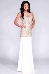 Keyhole Back Beaded Bodice Sheath Jersey Prom Dress With Dropped Waistline