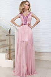 Ruched Cap-Sleeve Maxi V-Neck Tulle Prom Dress With Beading And Pleats