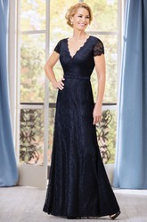 Short-Sleeved V-Neck Long Lace Mother Of The Bride Dress With Jewels And Bow