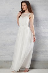 Sleeveless Maxi Scoop-Neck Tulle Wedding Dress With Lace