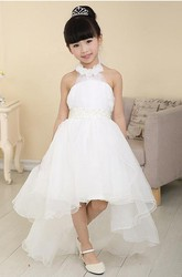 High-Low Tulle Halter Sash Bow Flower Girl Dress with Beading
