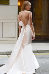 Satin Bateau-neck Sleeveless Open Back Wedding Dress