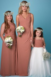 Sleeveless V-Neck Ruched Chiffon Bridesmaid Dress