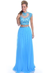 Chiffon Cap Sleeve Crop Top Prom Dress With Sequined Lace Bodice