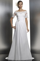 Sheath Short-Sleeve Off-The-Shoulder Appliqued Floor-Length Chiffon Wedding Dress With Beading And Broach